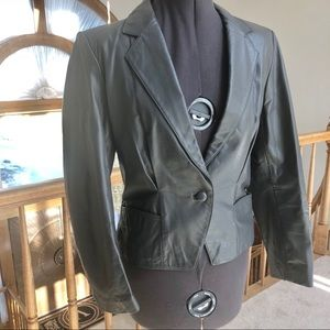Genuine Gray Leather One Button Short Coat Sz 10